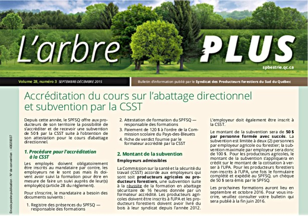 Abattage et subvention CSST
